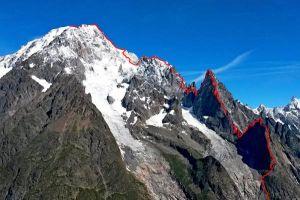 Integralissima di Peuterey, hřeben vedoucí z italské stany na vrchol Mont Blancu, foto: Filip Babicz